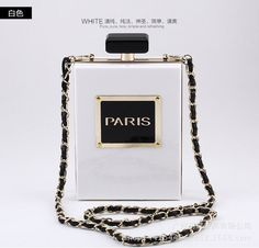 Hot Selling Brand Perfume Fashion Bag Bottle Shape Acrylic Clutch Perspex Evening Bag with Logo 8 Colors Magazine HandbagXA1214B
