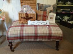 """Stunning Balmoral Raspberry Footstool/Coffee Table with 9"""" Caster Legs - 85cm x 57cm"""