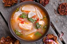 Salmon-Miso Sinigang (Filipino Sour Soup)  I love this dish when I was growing up back in the Philippines. You can make with pork or pork ribs also. Soooooo good. Yum Yum.