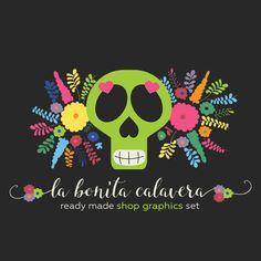 Sugar Skull Shop Banners Avatar Icon Business by CyanSkyDesign - #etsy #shop #graphics #banners #marketing #branding #sugar #skull #sugarskull #mexico #mexican #hispanic #calavera #handmade #business #smallbiz #logo #design