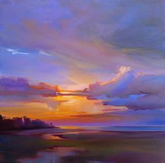 """Sunset Reflections, Prouts Neck,"" by Holly Ready. Oil, 18"" x 18,"" available at Maine Art Paintings and Sculpture."