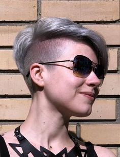 Tapered Undercut, Undercut Pixie Haircut, Pixie Hairstyles, Cute Hairstyles, Shaved Sides, Half Shaved, Buzzed Hair, Long Pixie, Short Hair Styles