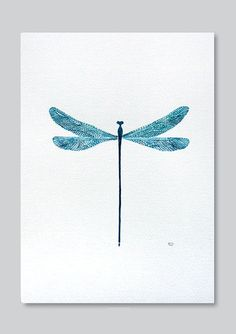Blue dragonfly with patterned wings. - print of watercolor illustration. colors: teal, blue, turquoise      Dimensions:  - paper size A4 - 21 x 29,7 cm