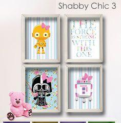 millie would loveeeee this!   Baby Girl Star Wars Nursery Art Girl Room Shabby by LilyLeilaRose