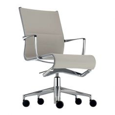 Rollingframe 434, height adjustable chair with arms, with castors and 5-star swivel base designed for Alias by Alberto Meda