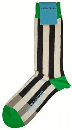 Striped Socks - Gene Meyer Hay Harbour Socks in Green/White/Black @ KJ Beckett Only £13.95!