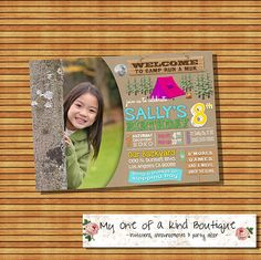 Campout invitation sleepover birthday party camping camp out photo invite movie under the stars wood digital printable invitation 13938 by myooakboutique on Etsy