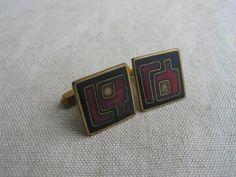 50er Jahre Design Schibensky Email Manschettenknöpfe emailliert