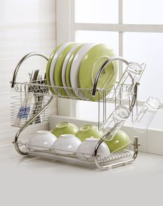 Home Basics 2 Tier Dish Rack Classy Home Basics 2Tier Dish Rack  Dish Drainers Dish Racks And Steel Inspiration Design