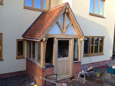 A simple yet attractive way of enhancing your home is a bespoke Oak porch, a stunning feature which also offers you a practical addition to your home 1930s House Extension, Porch Extension, Extension Ideas, Porch Oak, Porch Doors, Front Doors, Cottage Porch, Cottage Exterior, House With Porch