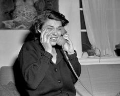 "These are tears of happiness, in case you were wondering! Actress Anne Bancroft weeps as she accepts a congratulatory phone call for her Best Actress win for her work in ""The Miracle Worker"" in Vintage Hollywood, Classic Hollywood, Anthony Hopkins Movies, Hollywood Actresses, Actors & Actresses, The Miracle Worker, Best Actress Oscar, Oscar Wins, Anne Bancroft"