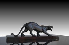 1930.fr Art deco Rochard panther  - Art deco sculptures bronze clocks vases