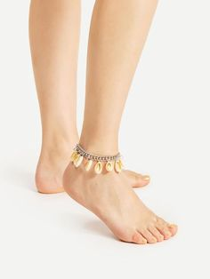 Shell Embellished Chain Anklet