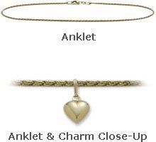 "10K Yellow Gold 10"" Solid Rope Style with Heart Charm Anklet Elite Jewels. $214.50"
