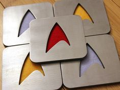 Star Trek Coaster Set of 5, Steel, Command, Gold, Sciences, Blue, Security, Red. $33.00, via Etsy.