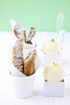 apricOt pistachiO crumble strudel creme fraiche ice cream