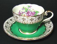 Aysnley Gilt Green Teacup and Saucer