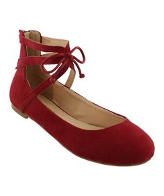 Look at this Liliana Footwear Maroon Sapphire Ankle-Strap Flat on #zulily today!