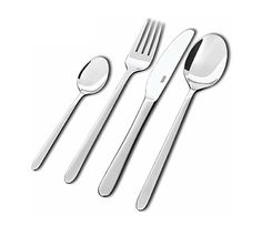 Siena-aterimet Lahjapakkaus. Sisältö: 6 kpl kahvilusikka, 6 kpl ruokalusikka, 6 kpl ruokahaarukka, 6 kpl ruokaveitsi.