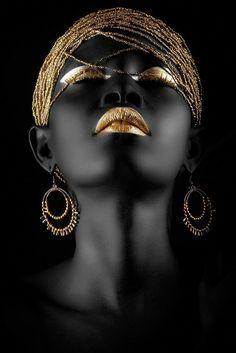 Fashion photography portrait people Ideas - New Site Black Art, Black Women Art, Black And White, Black Gold, Color Black, Art Women, Colour, African Beauty, African Art