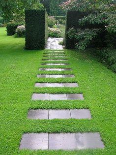 Дорожка из плитки в обрамлении газона