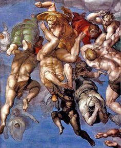 Capilla Sixtina-Juicio Universal - Detalles del frescoEl demonio esta arrastrando hacia abajo a los que han sido condenados en el Juicio. Estas figuras se encuentran apenas arriba de la figura de Caronte
