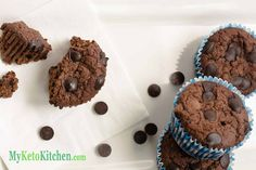 We couldn't stop at just Low Carb Chocolate Chip Muffins, we've taken them to the next level with our Low Carb Double Chocolate Fudge Muffins.