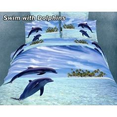 Dolce Mela Swim With Dolphins Bedding Set.My Dolphins.Donna Spinner