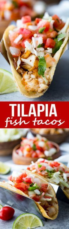 Easy flavorful tilapia fish tacos with pan fried tilapia pico and more Tilapia Fish Tacos; Easy flavorful tilapia fish tacos with pan fried tilapia pico and Tilapia Recipes, Fish Recipes, Seafood Recipes, Mexican Food Recipes, Dinner Recipes, Cooking Recipes, Healthy Recipes, Jello Recipes, Salads
