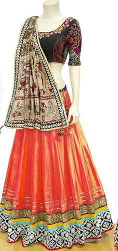 Navratri Special Orange And Black Color Bride Banarasi Fabric Embroidered Lehenga Choli Beauty and royalties comes together in this beautiful festive wear drape. Be the center of attraction with this navratri special orange and black lehenga choli. Black Lehenga, Lehenga Suit, Party Wear Lehenga, Silk Lehenga, Anarkali Suits, Navratri Festival, Ethnic Suit, Navratri Special, Desi Bride