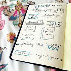 Header Ideas for your Bullet Journal ! More