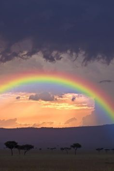 Stormy sky and rainbow in The Maasai Mara, Kenya.