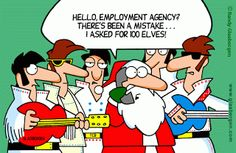 Funny Father Christmas Cartoons Santa Elves Elvis