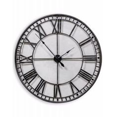 Large Iron Black Painted Skeleton Wall Clock Roman Numerals with an open pass-through design. Skeleton Wall Clock, Vintage Walls, Vintage Clocks, Kitchen Wall Clocks, Mantel Clocks, Roman Numerals, Metallic Paint, Decor Styles, Painted Metal