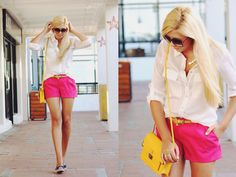 pink shorts and yellow purse