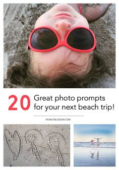 20 awesome beach photography prompts for your next vacation! Love these adorable suggestions for capturing the cutest pictures of the kids at the beach. The one with the sand messages is the best!