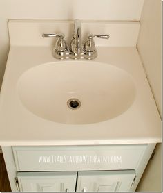How To Paint A Sink - Take 2 - Are you cursed with ugly sinks with no money to replace them? Well, why not just paint them! You can paint y… Budget Bathroom, Bathroom Renovations, Home Renovation, Small Bathroom, Master Bathroom, Bathroom Ideas, Painting A Sink, Bath Cleaners, Bathroom Faucets