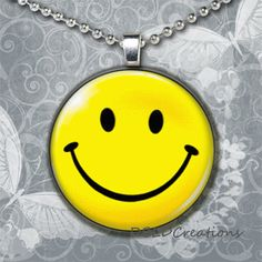 Happy Face Round Wood Tile Pendant  Smile Pendant by DBLDCreations, $7.00