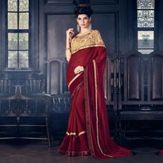Buy Maroon Fancy Border Work Saree online India, Best Prices, Reviews - Peachmode