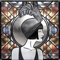 Found my retro girl in coloring app. Colored by @heather_gills  #varka_art #varvaragorbash  #coloring #coloringbook #adultcoloring  #greatgatsby #flapper #illustration