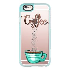 Cute Watercolor Steamy Coffee Typography and Mug- Transparent - iPhone... ($40) ❤ liked on Polyvore featuring accessories, tech accessories, iphone case, iphone cover case, iphone hard case, transparent iphone case, apple iphone case and iphone cases