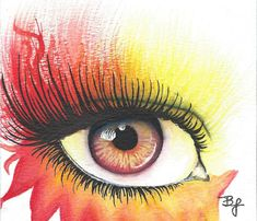 Fire Eye 4x5.5in Watercolor Painting Colorsplash Bronze