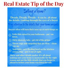 Real Estate Tip of the Day Dec 27, 2013.  Selling a Home?  Pay attention to the details that your home presents. #RealEstateTips #realestate #sellmyhome