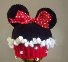 cupcake crochet hat | M2M Minnie Mouse Cupcake Hat ADULT SIZES in Red or Hot Pink Crochet Kids Hats, Crochet Beanie Hat, Crochet Cap, Crochet Amigurumi, Cute Crochet, Crochet Crafts, Yarn Crafts, Crochet Clothes, Crochet Projects