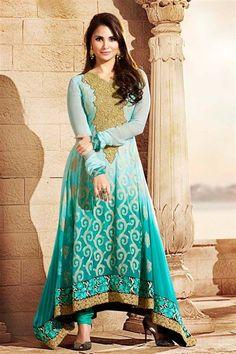 Lara Dutta Georgette Sky Blue Long Suit