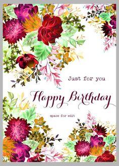 New designs by Victoria Nelson Illustration… Happy Birthday Wishes Cards, Happy Birthday Flower, Happy Birthday Girls, Happy Birthday Pictures, Birthday Girl Quotes, Birthday Posts, Birthday Wishes Quotes, Birthday Drinks, Happy B Day
