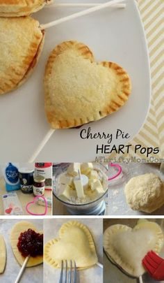 Cherry Pie heart pops, a quick and easy dessert idea for Valentines day, made from scratch dough, finger food party idea