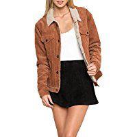 HaoDuoYi Womens Fashion Faux Fur Collar Corduroy Coat Winter Jacket