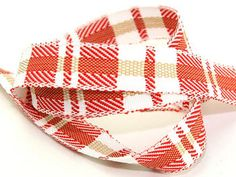 Red, White & Beige Rustic Woven Check Ribbon for Christmas Crafts - 15 metre roll Preview