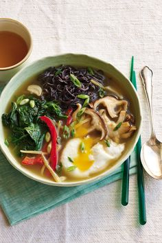 Ramen in Lemongrass-Ginger Broth with Poached Egg